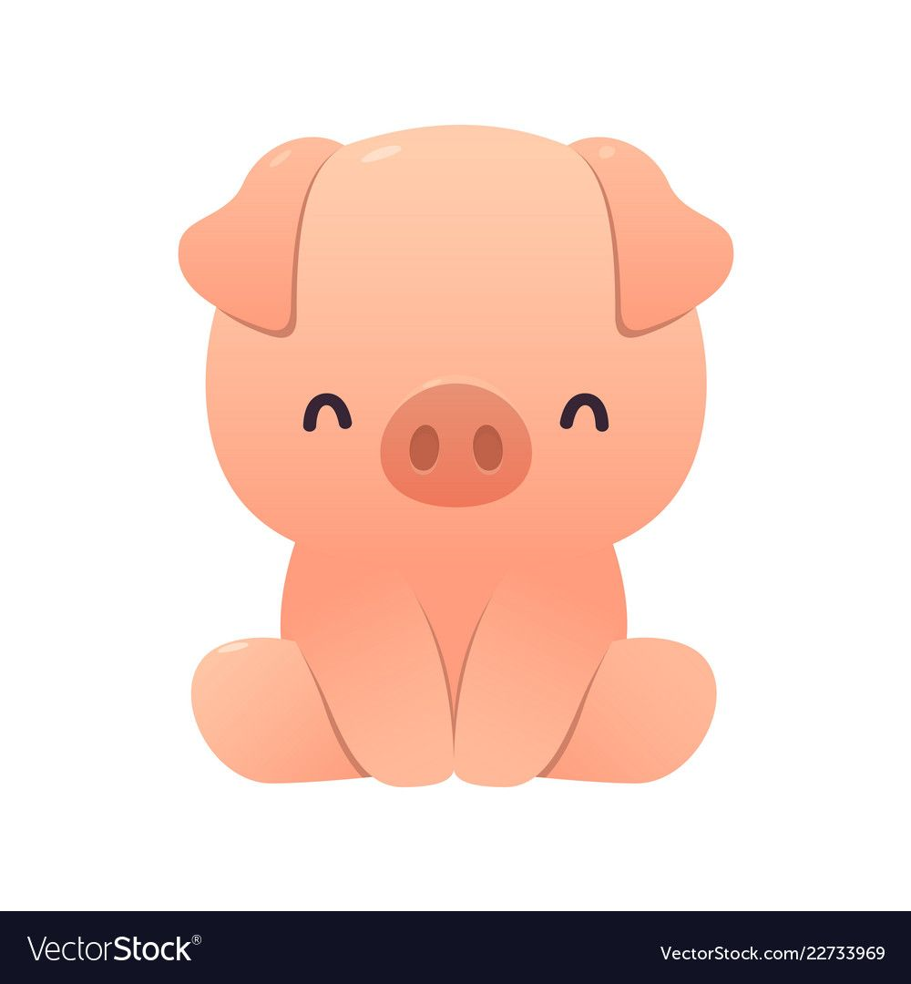 Cute Pig Cartoon Sitting On White Vector Image On With Images