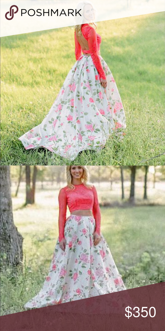"""Sherri Hill bright floral prom dress I love this dress so much it hurts to sell it!!! Long sleeve with an open back, 2 piece, altered for someone who is 5'7"""" but I wore 2-1/2 inch heels with it. Sleeves are lace so very breathable so you don't get too hot. I am in Houston area so if you are also and want to try it on comment and we can get in contact with each other. Sherri Hill Dresses Prom"""