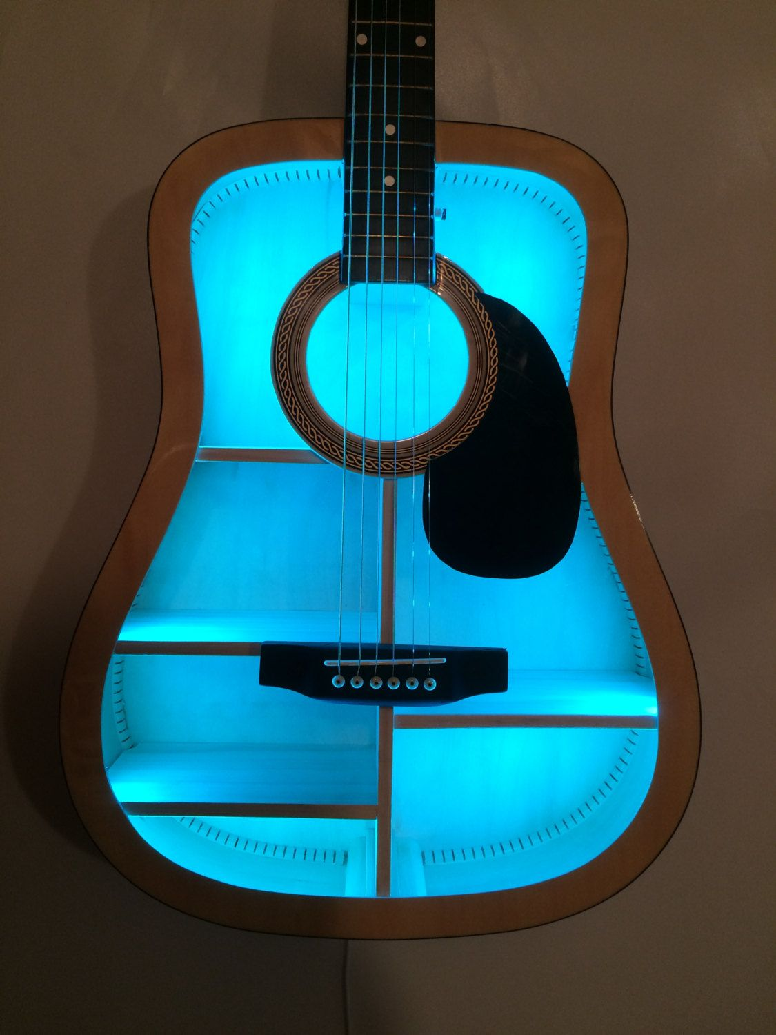 Guitar Shelf 50 Recycled Acoustic Guitar With Color Changing L E D And Custom Shelves 16 Color Options By Ar Guitar Shelf Guitar Shelf Diy Music Furniture