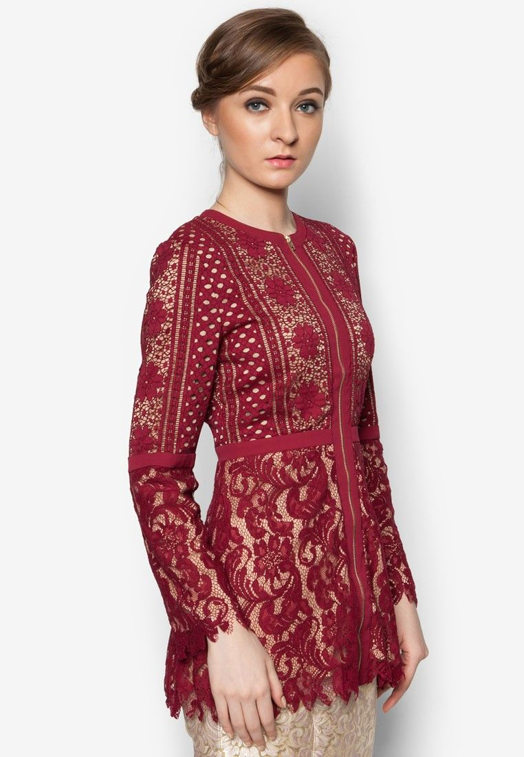 Lace Peplum Top from POPLOOK Premium for Zalora in red_2