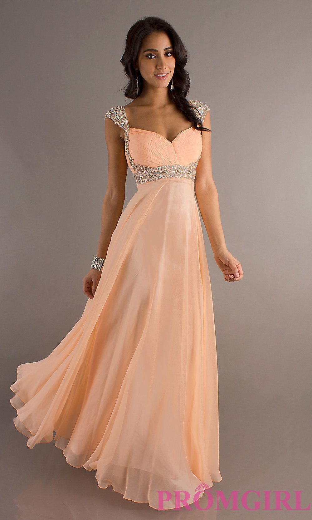 Long Dave and Johnny Cap-Sleeve Peach Prom Dress | Long prom ...