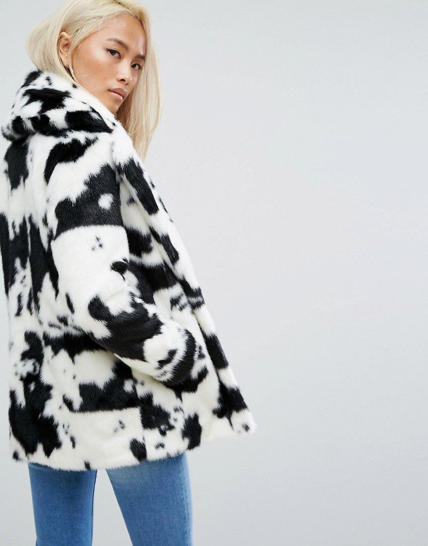 26eff28317 Jakke Mid Length Faux Fur Coat In Cow Print in 2019