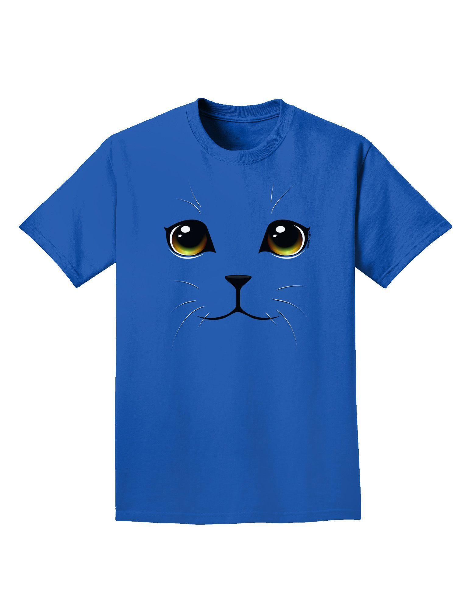 TooLoud Yellow Amber-Eyed Cute Cat Face Adult Dark T-Shirt