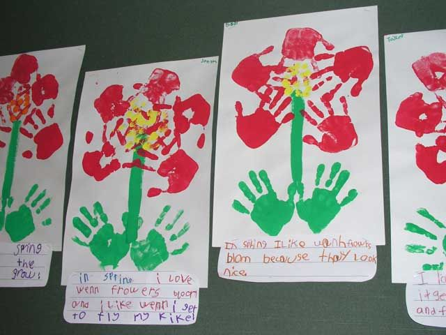 We did these hand flowers for Mothers Day & Teacher ...