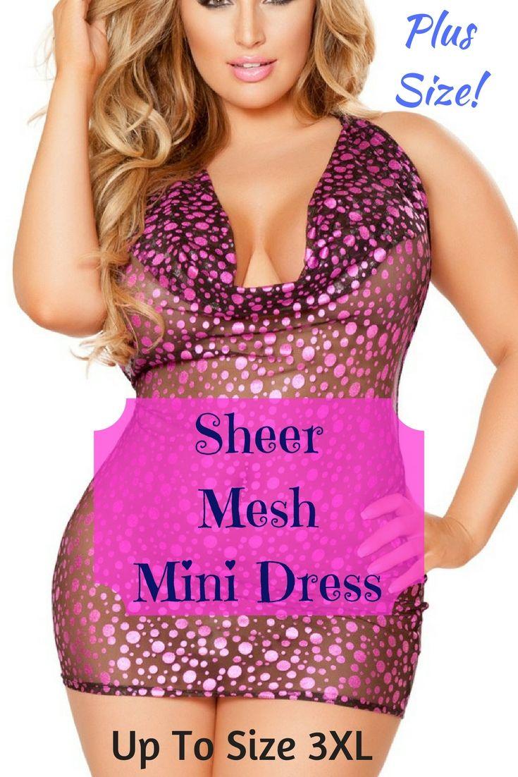 Wow So Sexy Pink Plus Size Sheer Mesh Mini Dress Xl 3xl Short