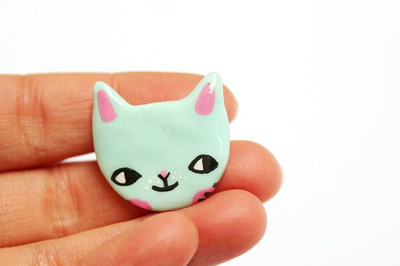 Clay Cat Brooch by ponyponypeoplepeople on Etsy