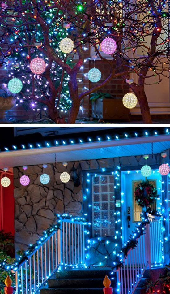 Outdoor LED Hanging Ornaments | Inexpensive Christmas Decorations for  Outside Ideas | Easy Outdoor Christmas Decor Ideas for Porch - 20+ Best DIY Outdoor Christmas Decorations Ideas For 2018 DIY