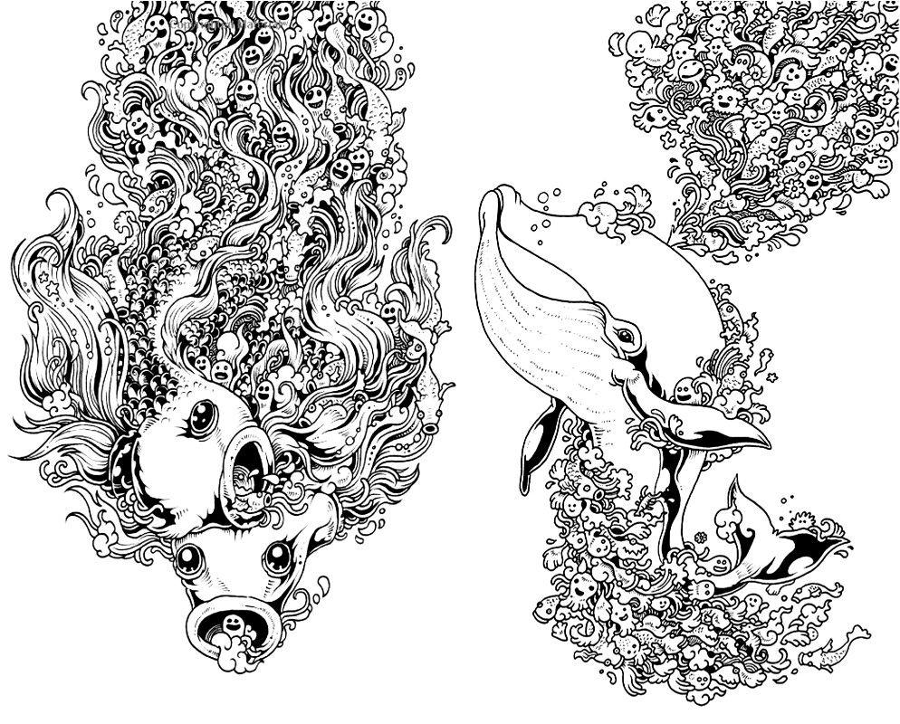 The tattoo coloring book megamunden - Explore Trippy Under The Sea And More Trippy Under The Sea Doodle Megamunden Tattoo Colouring Book