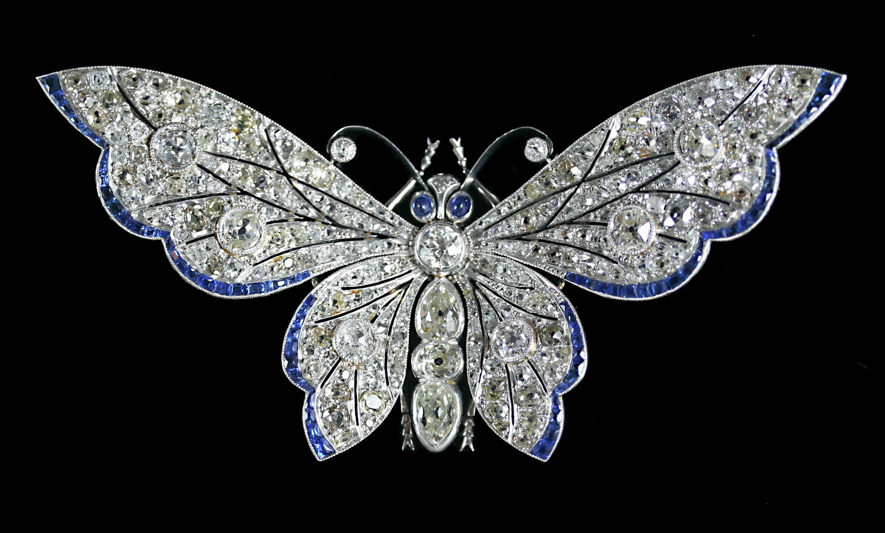 ruby antique nouveau diamond emerald sapphire silver gold sku topped brooch butterfly art