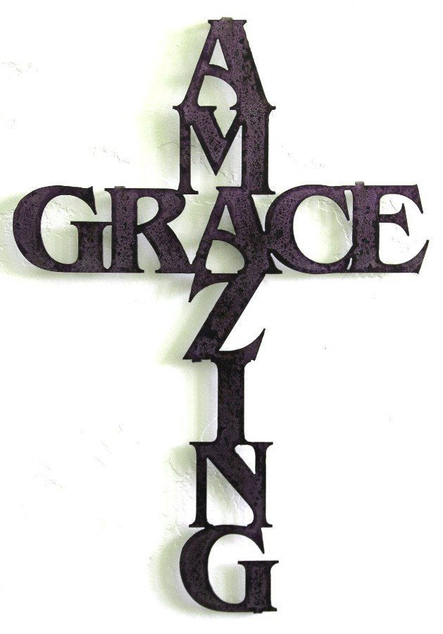 Amazing Grace Wall Cross Metal Decor Personalized Sport Medal Holders Custom Home Yard
