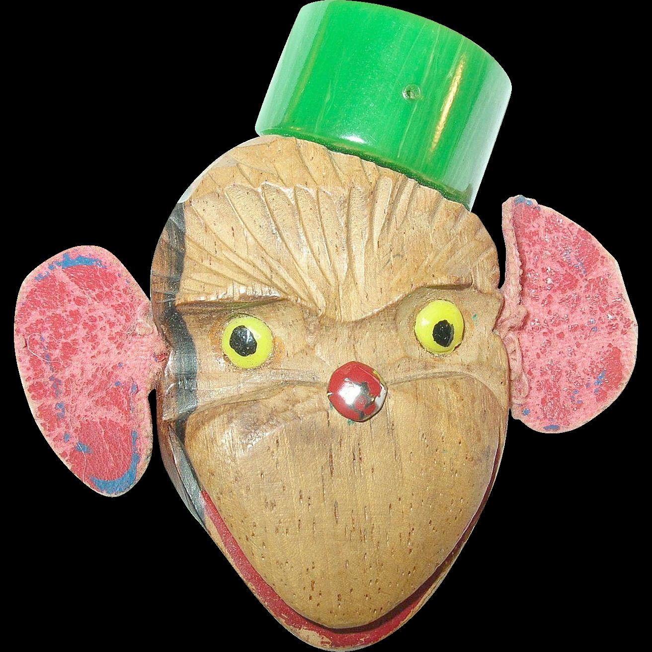 Vintage Bakelite Wood Monkey Bellhop Brooch