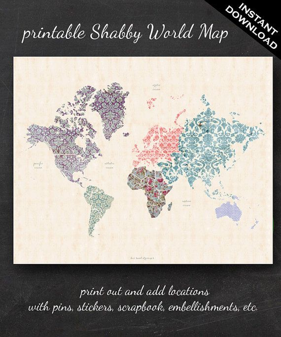 Printable World Map 16 X 20 Shabby Chic Pdf By Thegeekerystore
