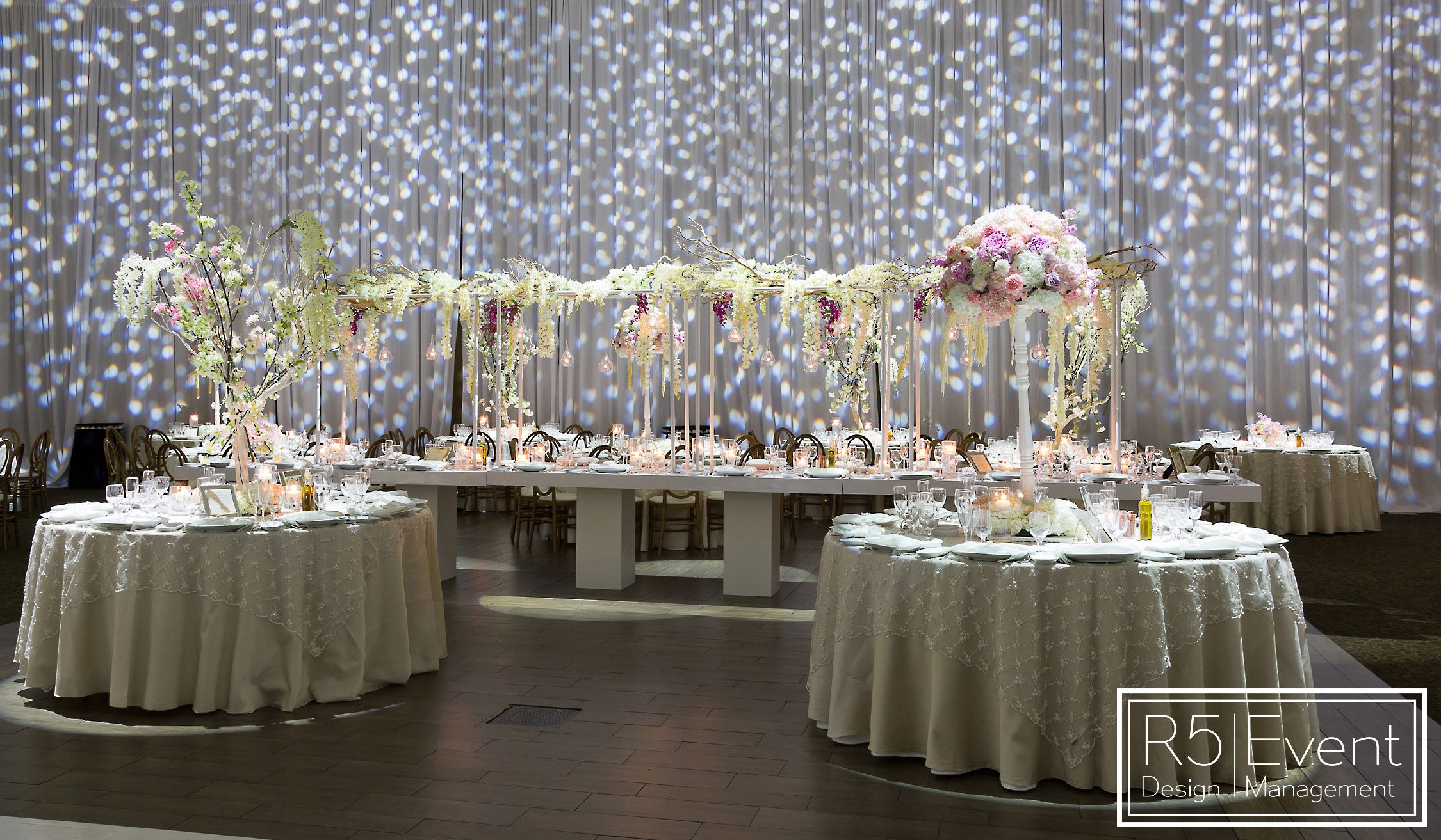 Tall Flower Arrangements Cherry Blossom Trees Wisteria Roses And Magical Wedding By R5 Event Desi Tall Flower Arrangements Event Design Wedding Decorations