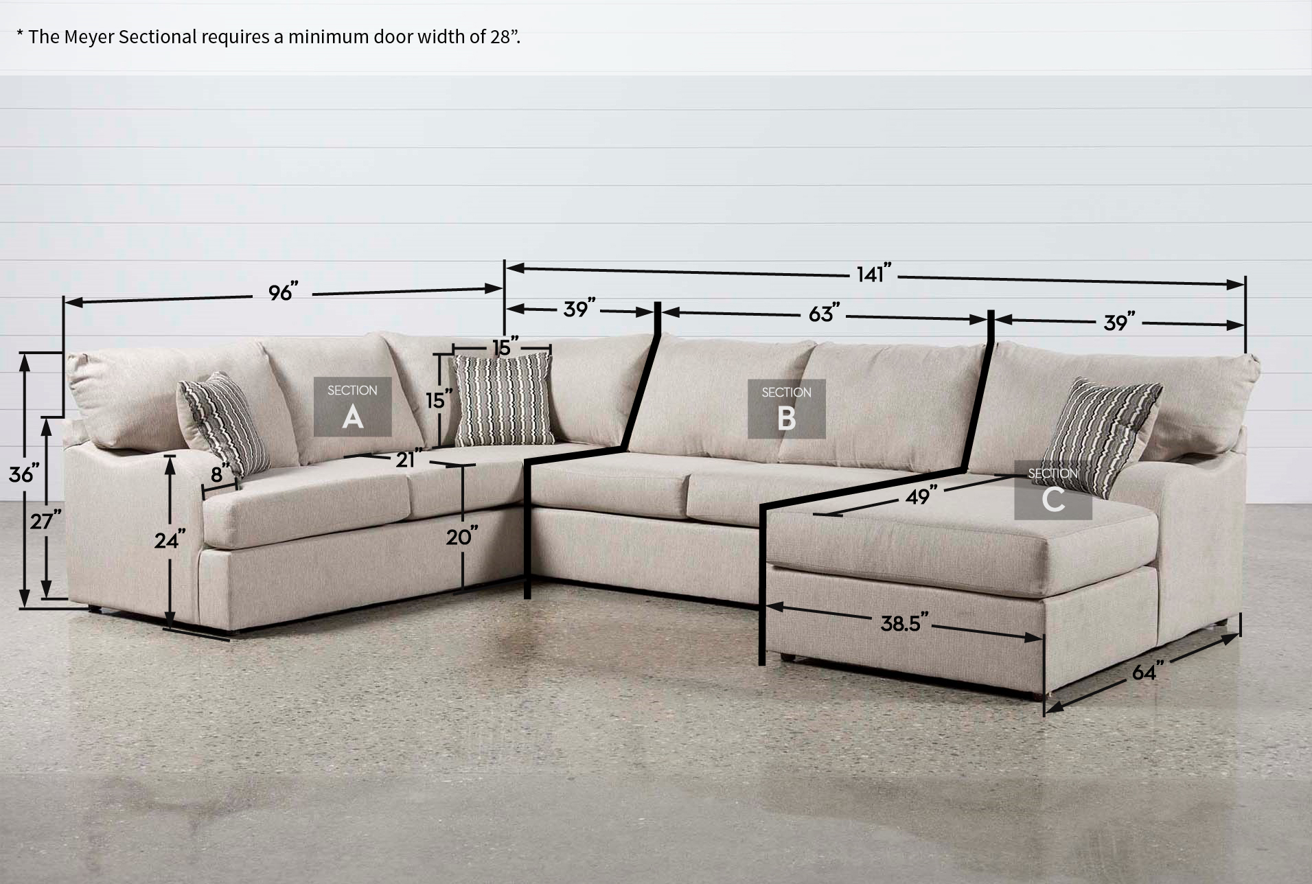 Best Meyer 3 Piece Sectional Sofa With Right Arm Facing Chaise 400 x 300