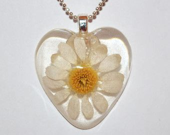 Real white daisy heart pendant necklace pressed flower botanical real white daisy heart pendant necklace pressed flower botanical resin jewelry mozeypictures Choice Image