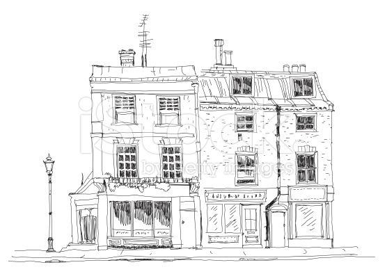 Line Art Village : Old english town house with small shop or business on