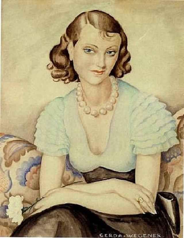 Self Portrait Of Gerda Wegener Tegninger Maleri