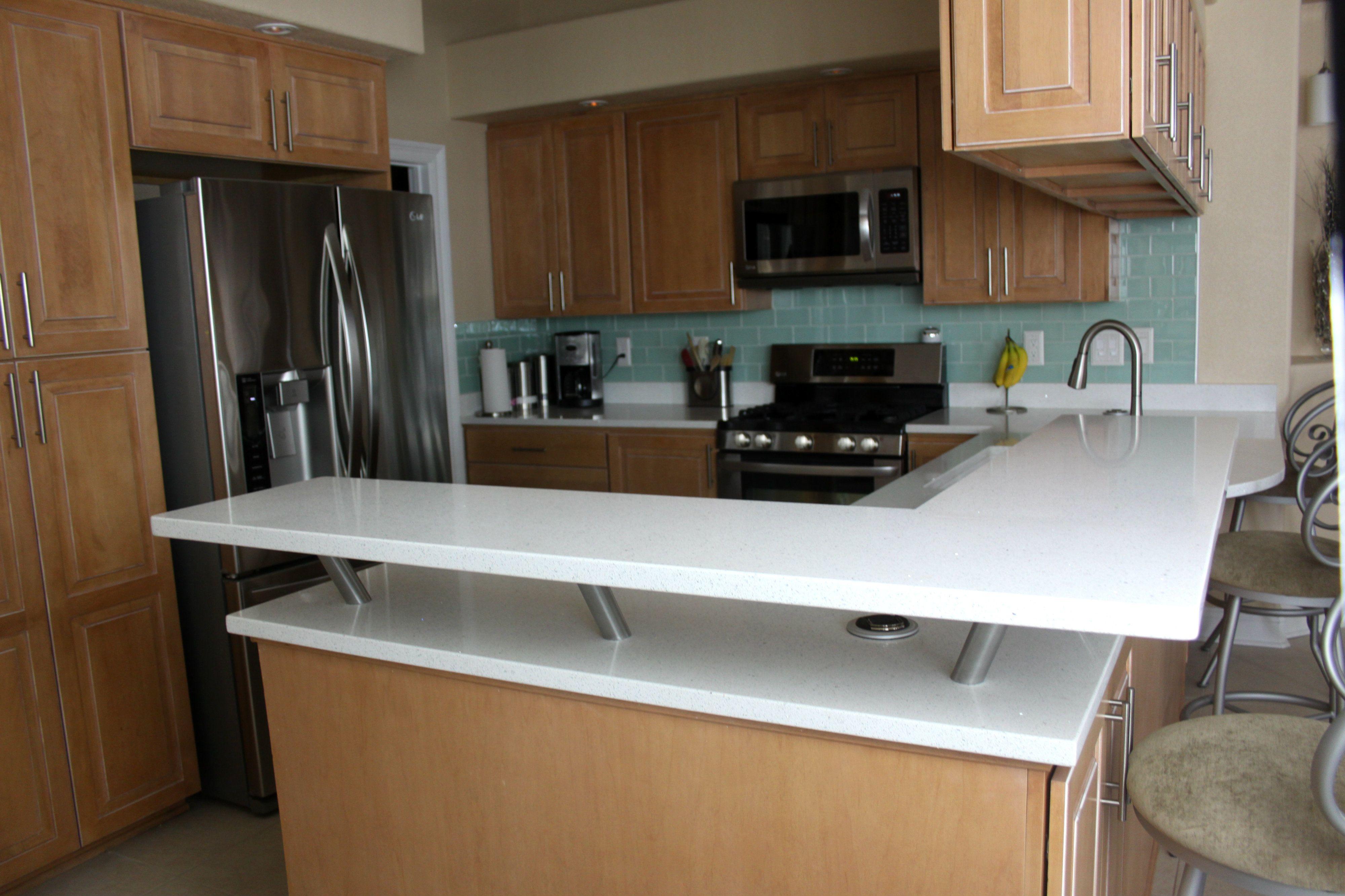 MSI Sparkling White Quartz Kitchen Countertops #SuperiorGranite #Quartz  #QuartzCountertops #Pensacola #Florida