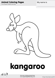 Free Kangaroo Coloring Page From Super Simple Learning Tons Of Zoo Animal Worksheets And