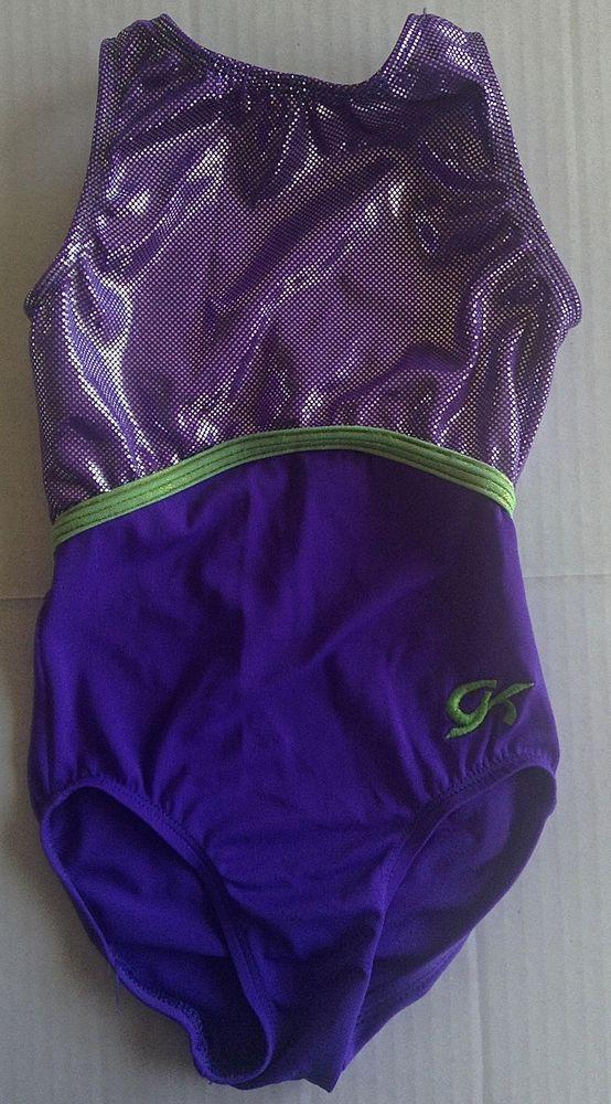 8e2c451f9 GK ELITE Metallic Sparkle Leotard Gymnastics Dance Purple Girls Size ...