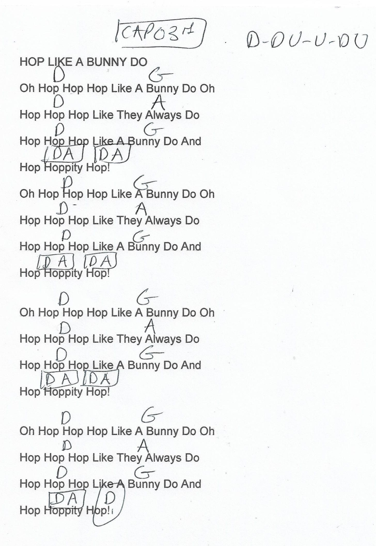 Hop Like The Bunny Do Internet Guitar Chord Chart Capo 3rd Fret Chord Chart Guitar Chord Chart Guitar Lessons