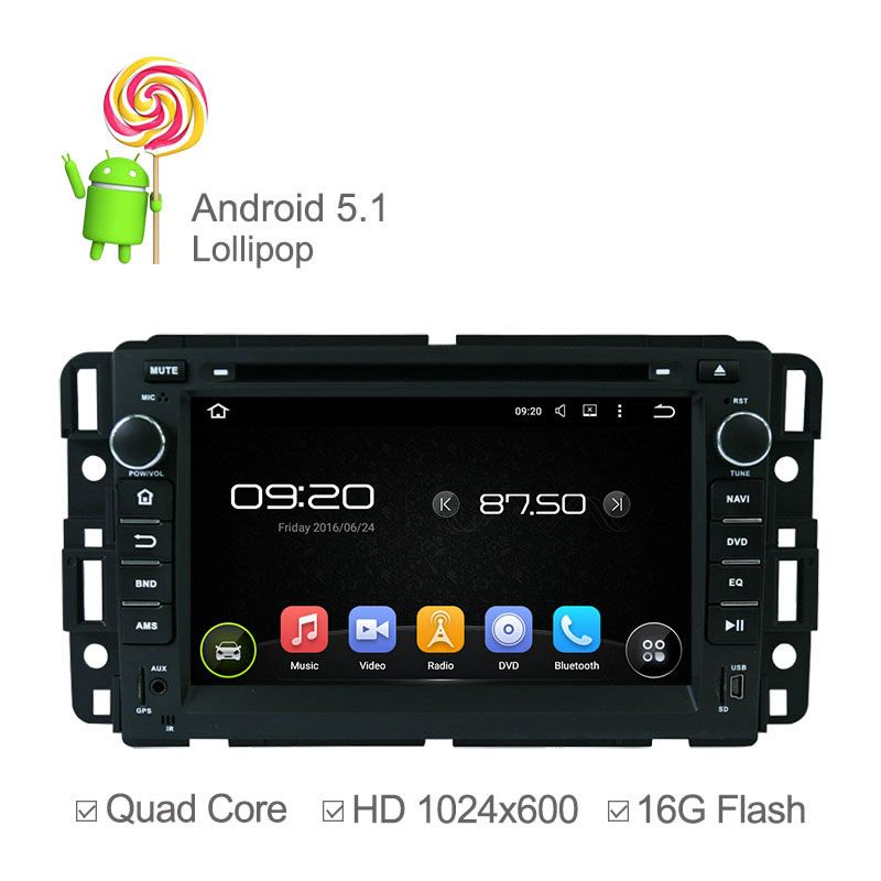 1024 600 Android 5 1 Car Dvd Radio For Gmc Yukon Sierra Tahoe Chevrolet Express Traverse Silverado Enclave With Quad Core Gps Car Dvd Players Radio Car