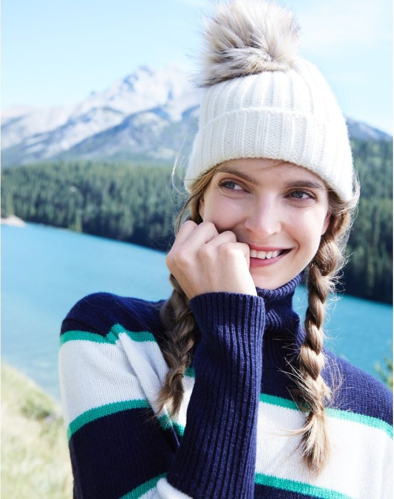 0cc8cc5c98c J. Crew Ribbed Hat with Faux-Fur Pom-Pom and Striped Turtleneck in  Wool-Cashmere