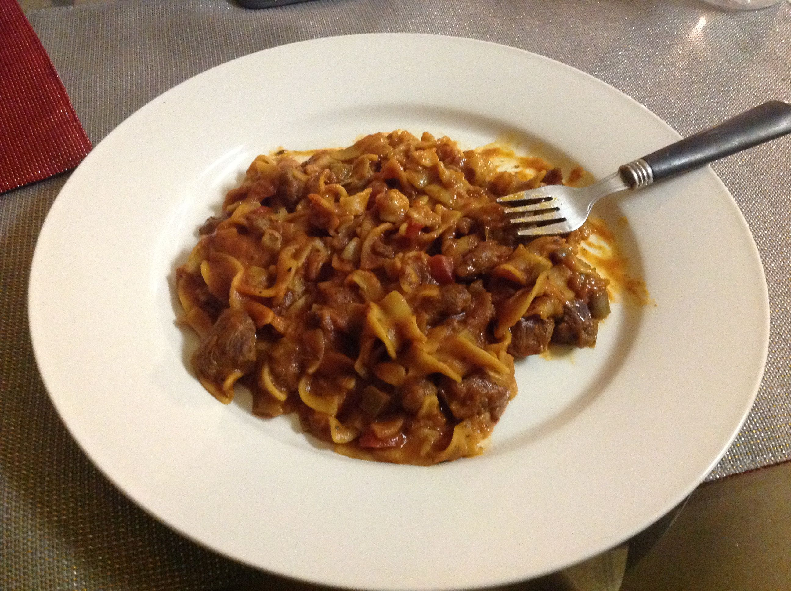 Brown Rice Pasta Rotini, Browned Tender Diced Stew Meat, Cooked In Homemade  Tomato Sauce