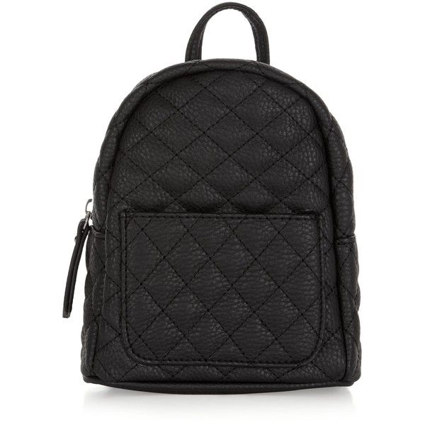 New Look Black Quilted Curved Mini Backpack (11.090 CLP) ❤ liked ... : black quilted rucksack - Adamdwight.com