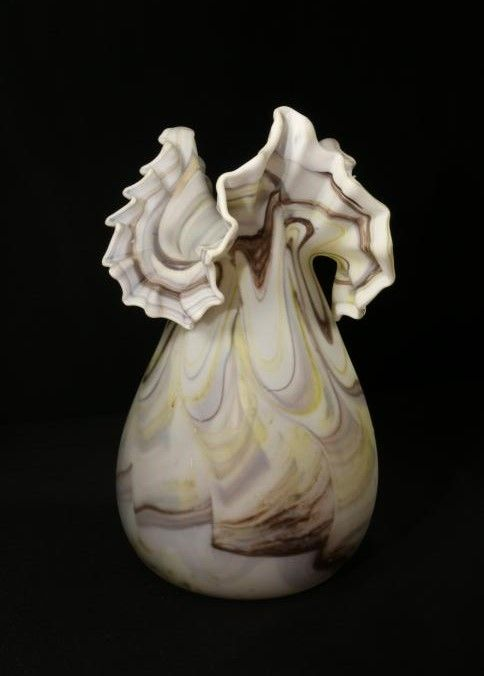 Art Nouveau Satin Glass Vase With Exposed Pontle Having Ruffle Edged