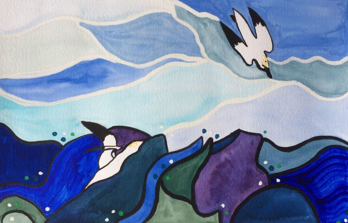 diving gannets painting from a handmade art calendar by Heidi Piercy