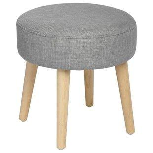 tabouret pouf rond esprit scandinave en tissu gris et pieds bois d35xh35cm pier import pouf. Black Bedroom Furniture Sets. Home Design Ideas