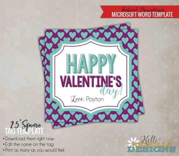 Printable Happy ValentineS Day Tag Template Purple With