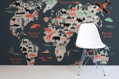Kidslandmarkworldmapmuralwallpaper Annabelle Pinterest - World map mural for kids