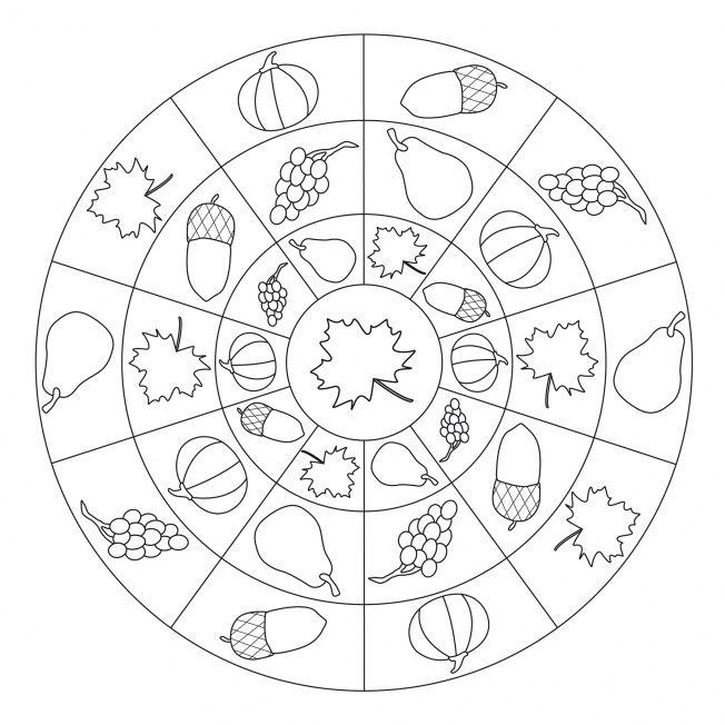 mandala herfstvruchten  mandalas  pinterest  herbst
