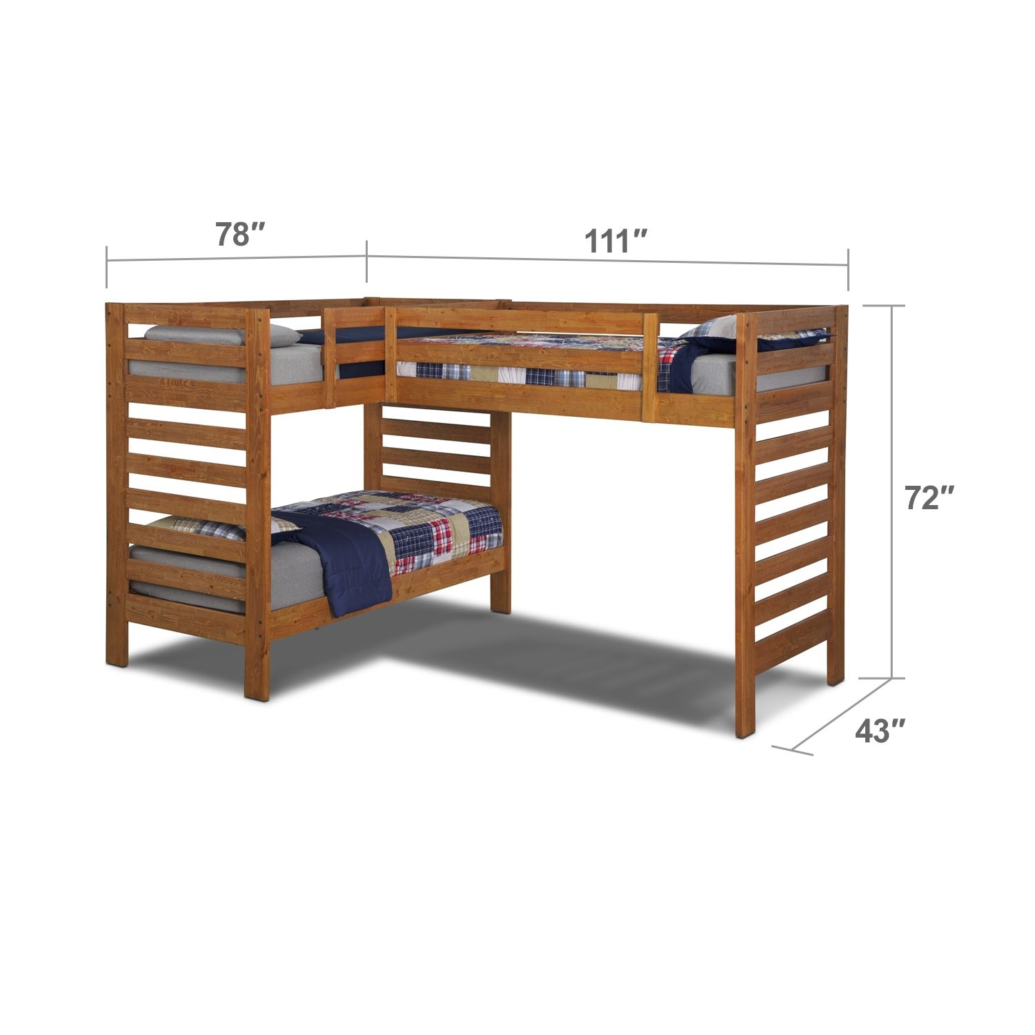 L Formed Loft Bunk Beds Drew III Kids Furniture Twin L-Shaped Loft Bed | Furniture.com