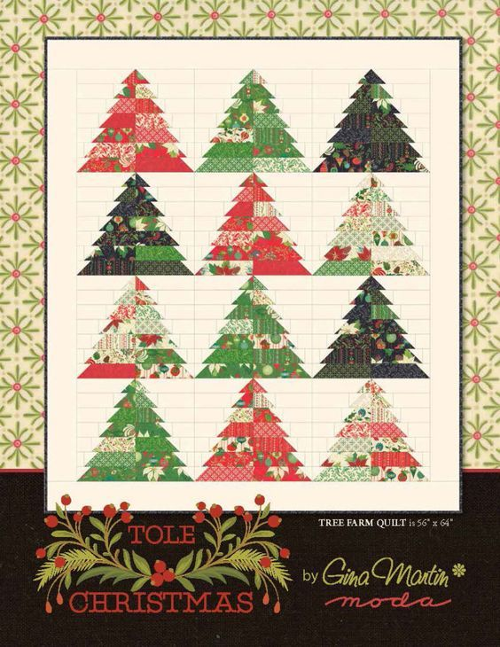 Free Pattern Tree Farm Quilt Using Tole Christmas By Gina Martin For Moda Fabrics Jelly Christmas Tree Quilt Tree Quilt Pattern Christmas Tree Quilt Pattern