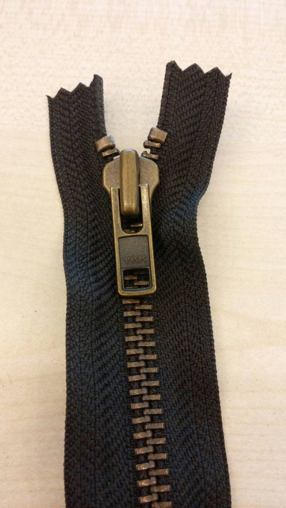 Ykk Metal Zipper Type 8 Antique Brass Brown 23 Cm