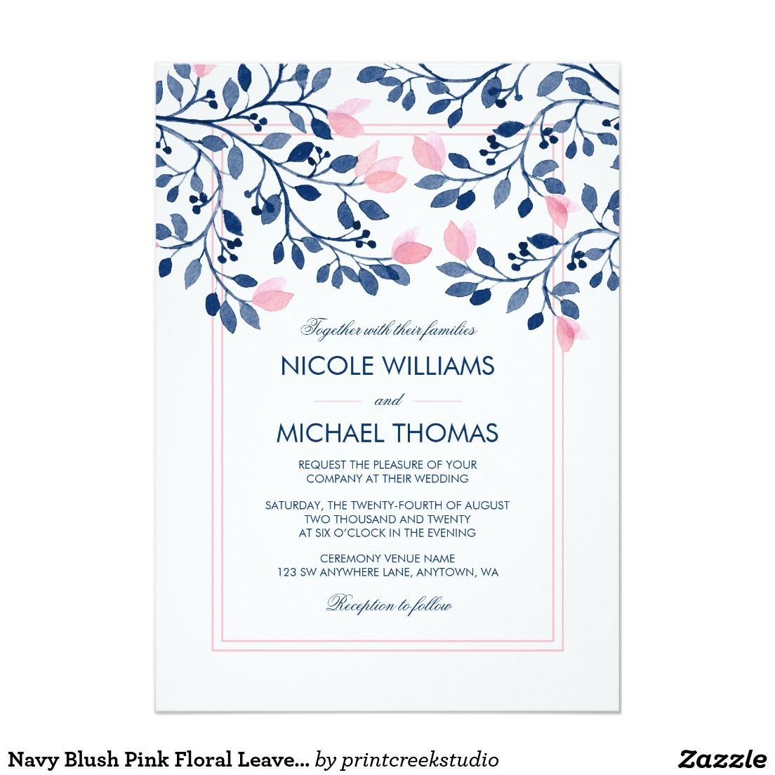 Navy Blush Pink Floral Leaves Watercolor Wedding Card Watercolor