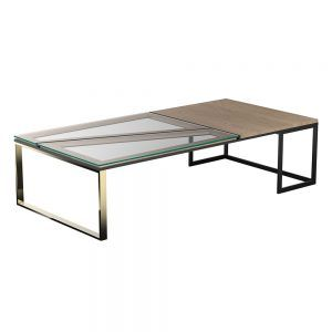 Hialeah Rectangle Coffee Table Clear Glass Oak Black