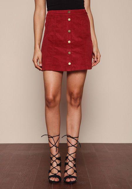 9dbaed3e15 Red Corduroy Button Down Skirt - LoveCulture.com | Love Culture l ...