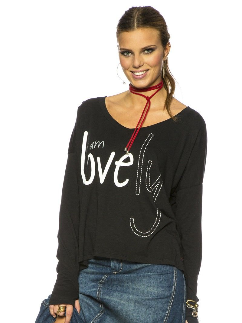 Super Cozy In My I Am Love Black Long Sleeve V Neck Top