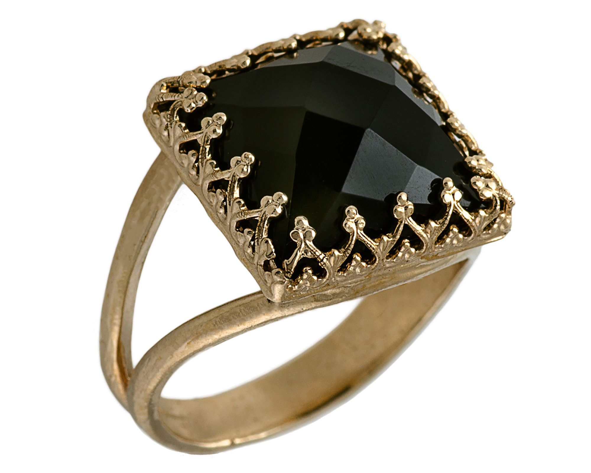 24k yellow gold filled Black Onyx Princesse Solitaire Anneaux
