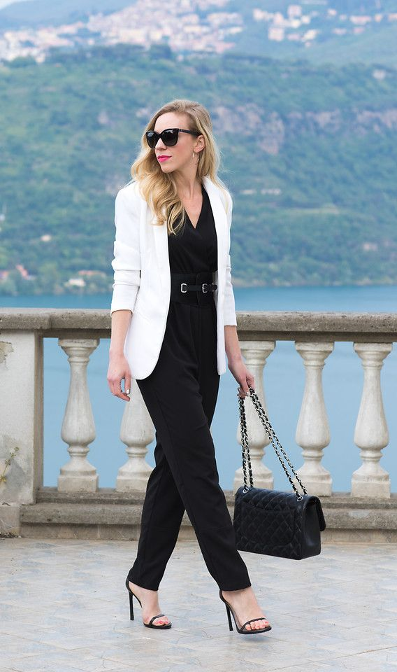 aac685e2969e Meagan - White Blazer/Black Jumpsuit | Classy & Edgy Clothing in ...