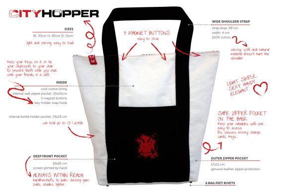 CityHopper Red Rabbit urban tote bag by RedRabbitDesignStore