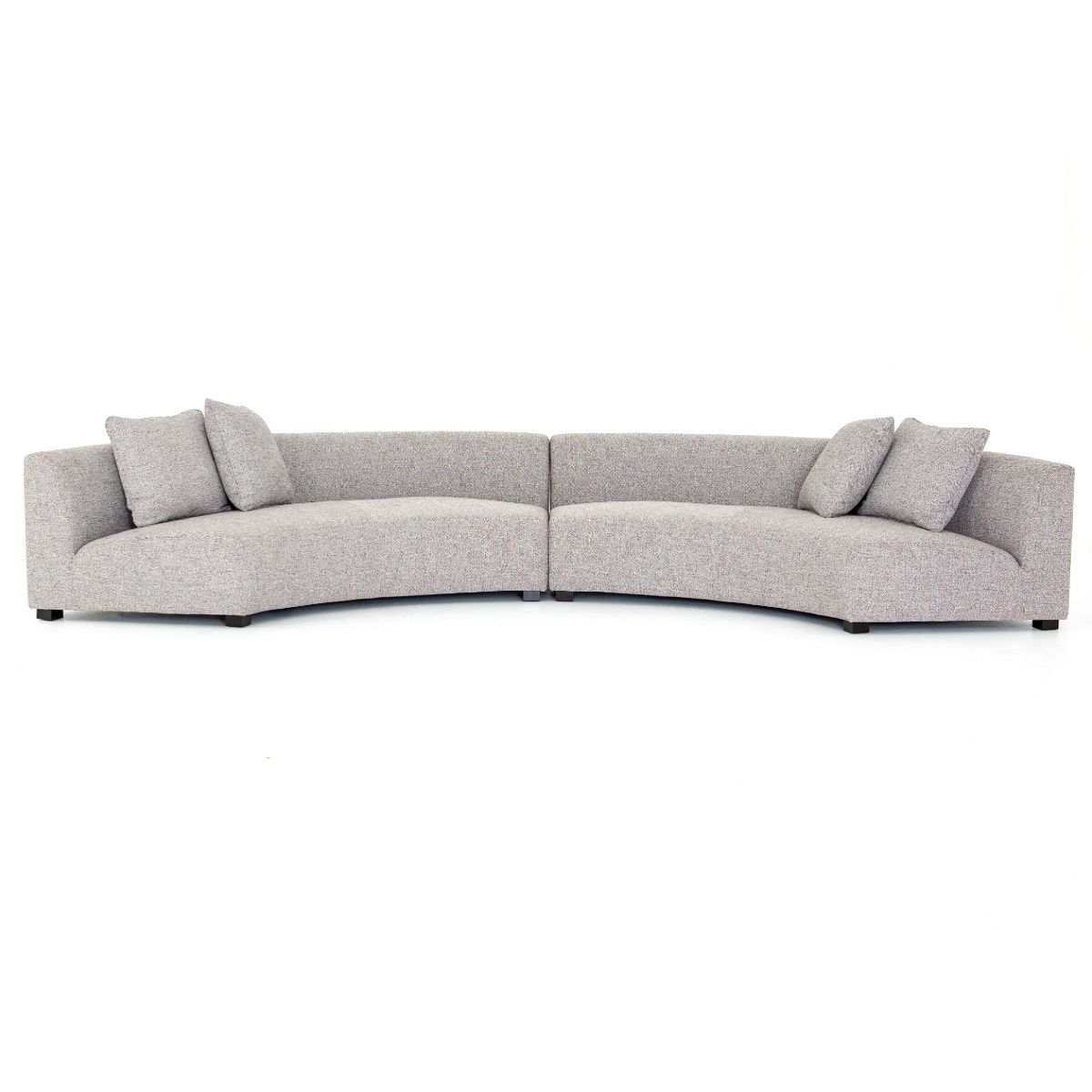 Liam Modern Grey 2 Piece Curved Sectional Sofa Curved Sectional