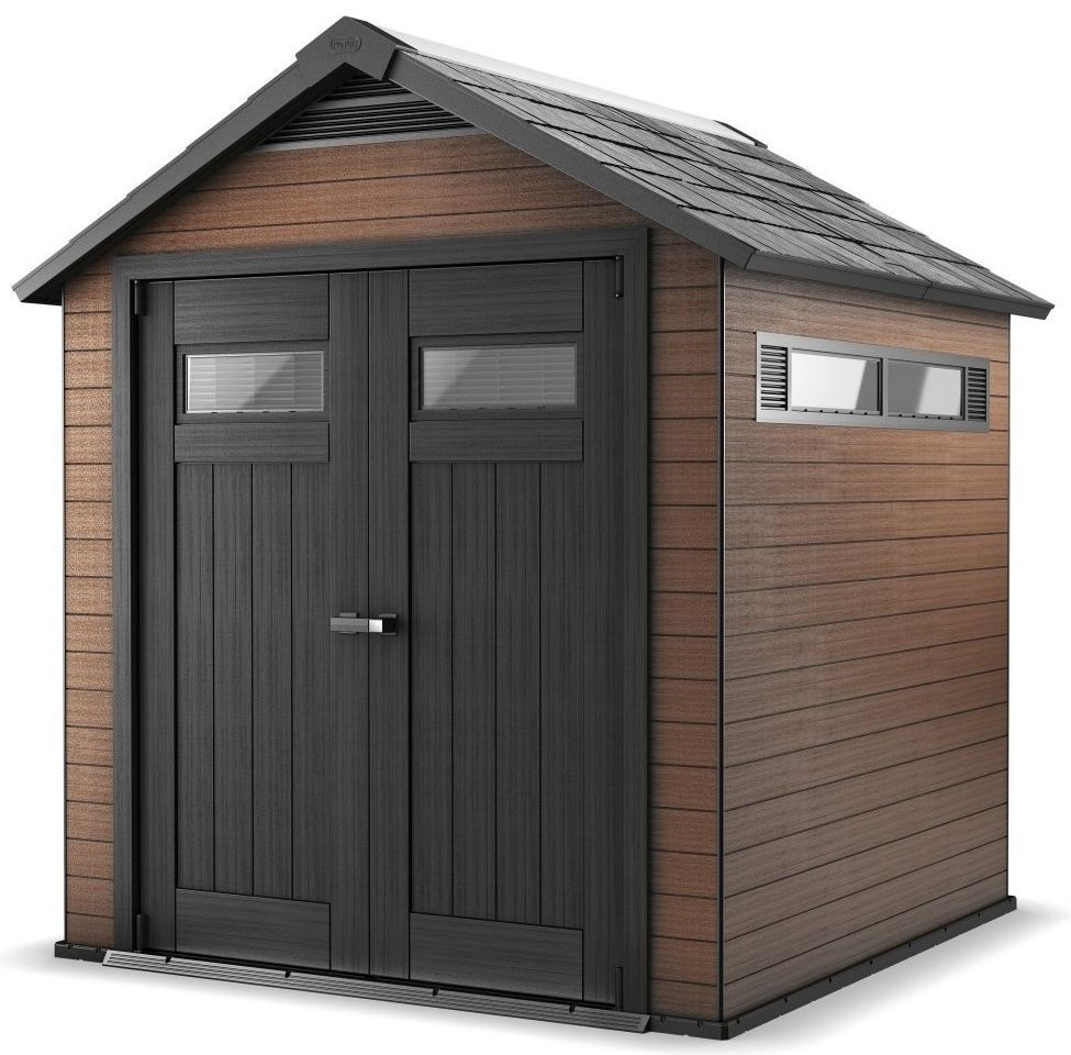 log cabin garden shed composite wood effect recycled plastic double door secure