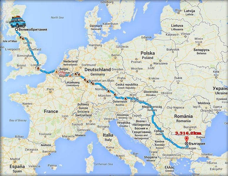 Travel to Bulgaria by car from the UK the distance is 3316 2 km