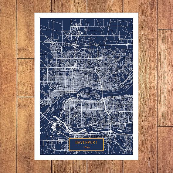 DAVENPORT Iowa City Map Davenport Iowa Art Print by JackTravelMap