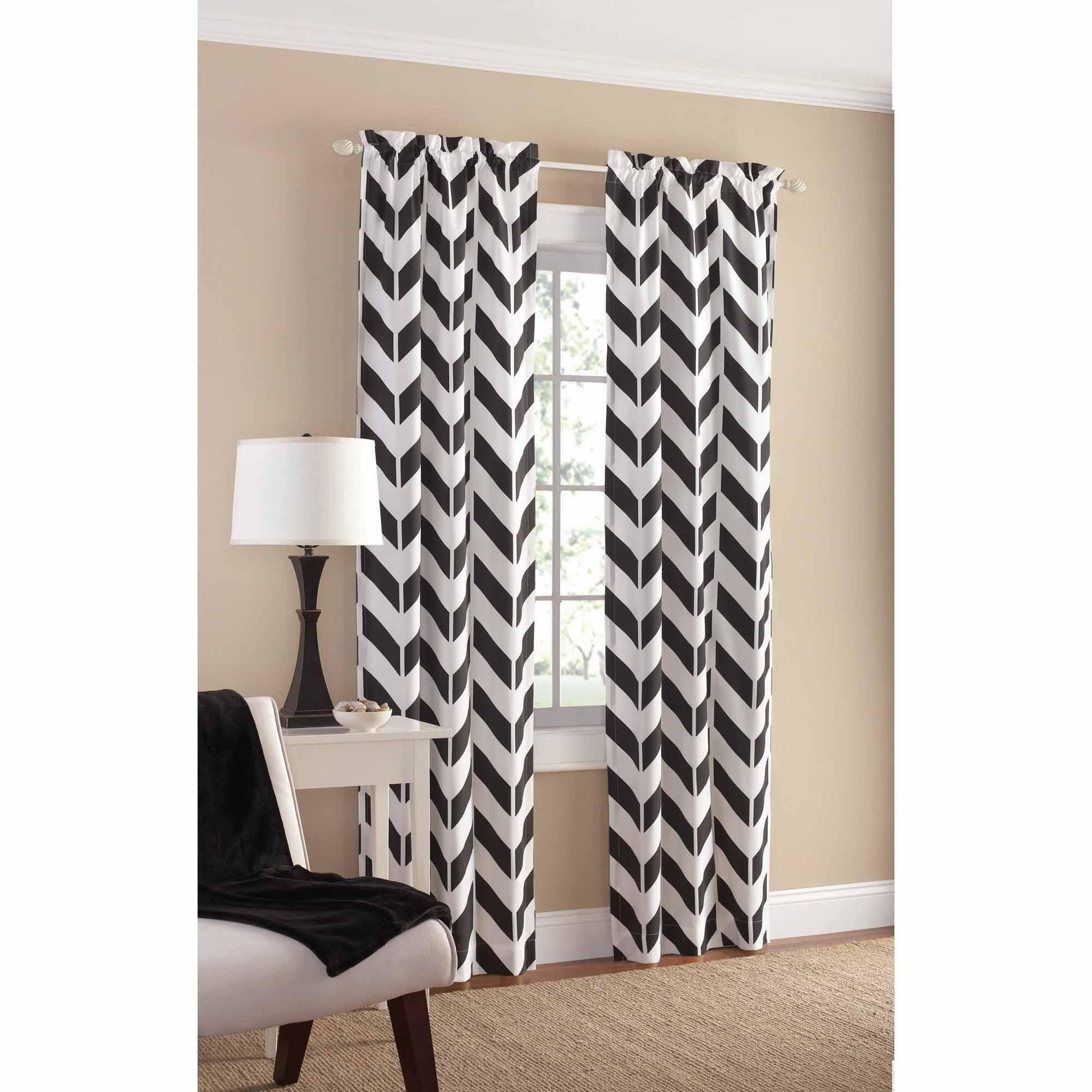 Mainstays Chevron Polyester/Cotton Curtain Panel Pair ...